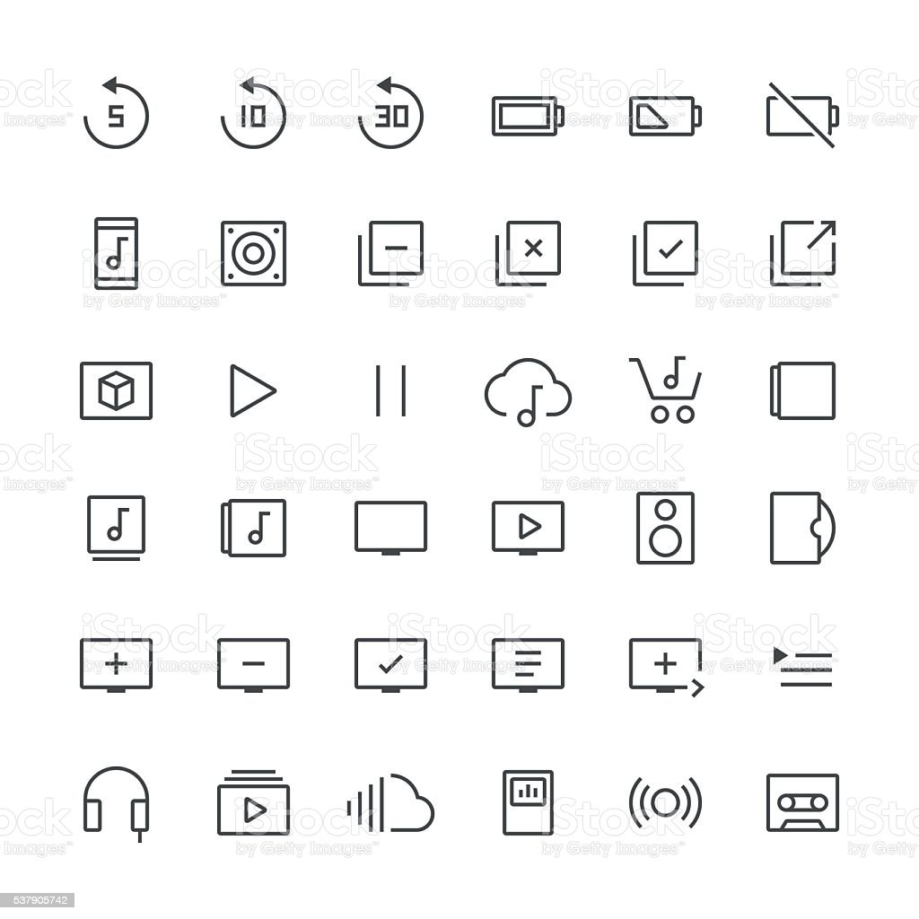 Audio Visual icons set 3 | Thin Line series vector art illustration