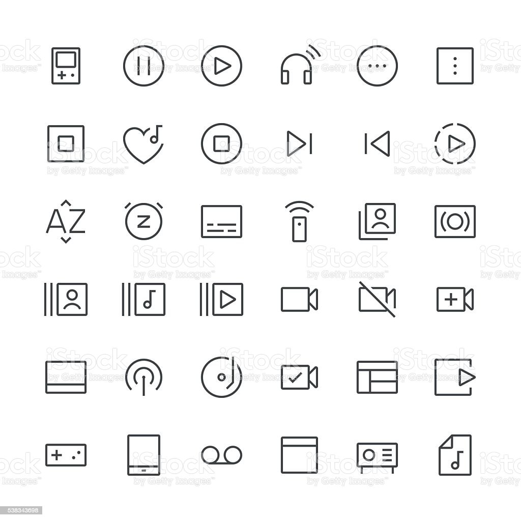 Audio Visual icons set 4 | Thin Line series vector art illustration