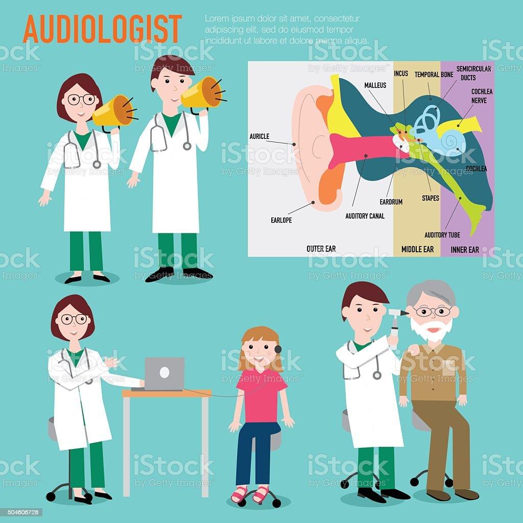 Audiologist , audiology , anatomy of ear vector infographic illu vector art illustration