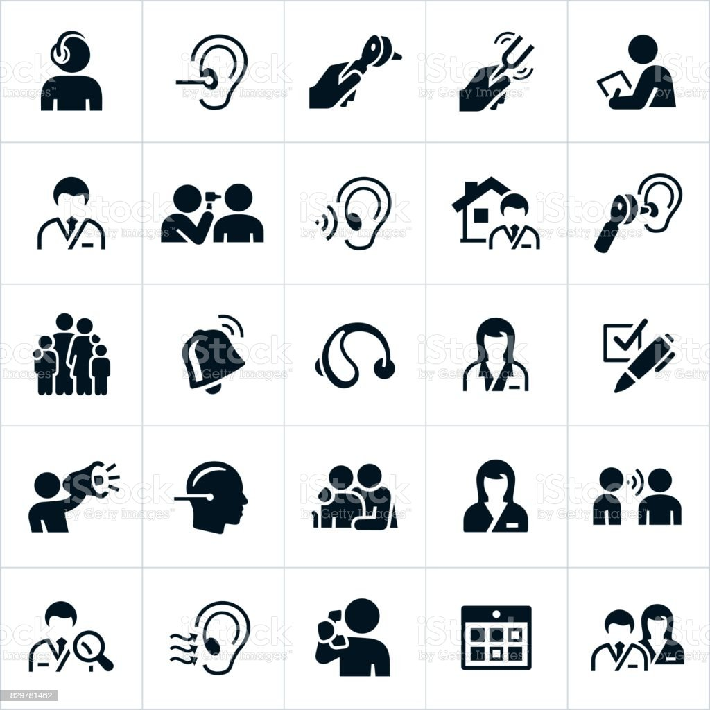 Audiology and Hearing icons vector art illustration
