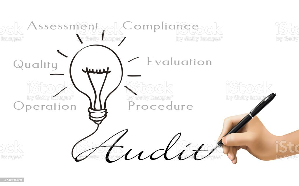 audit word and bulb icon drawn by 3d hand vector art illustration