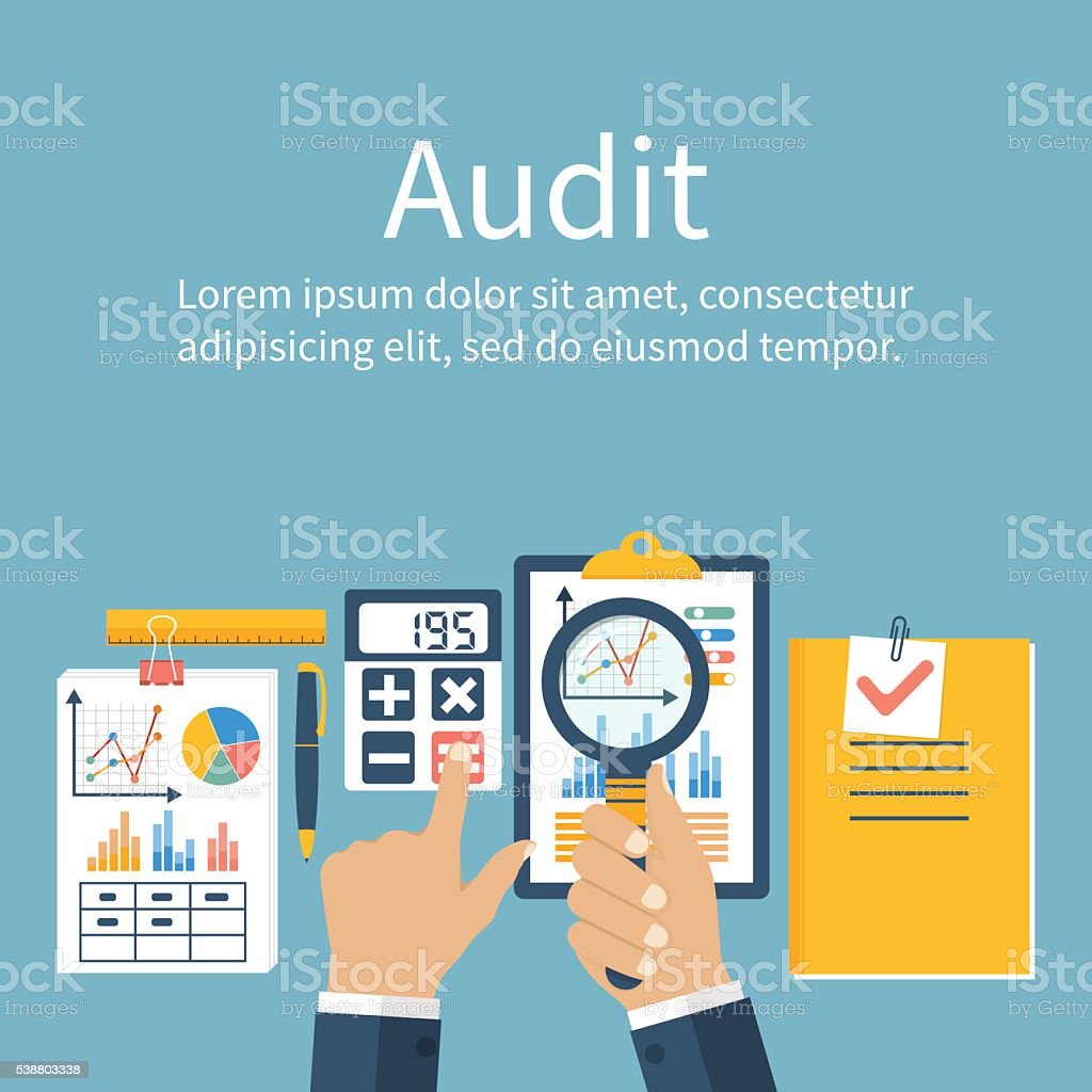 Auditing concepts. Vector flat style vector art illustration