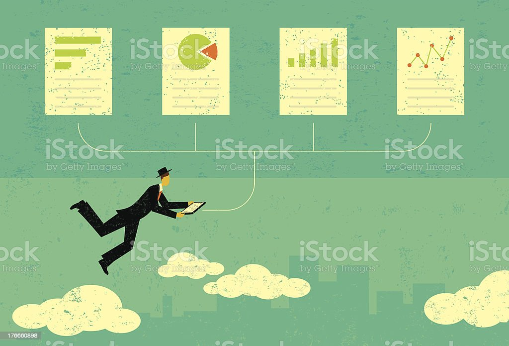 Auditing financial documents royalty-free stock vector art