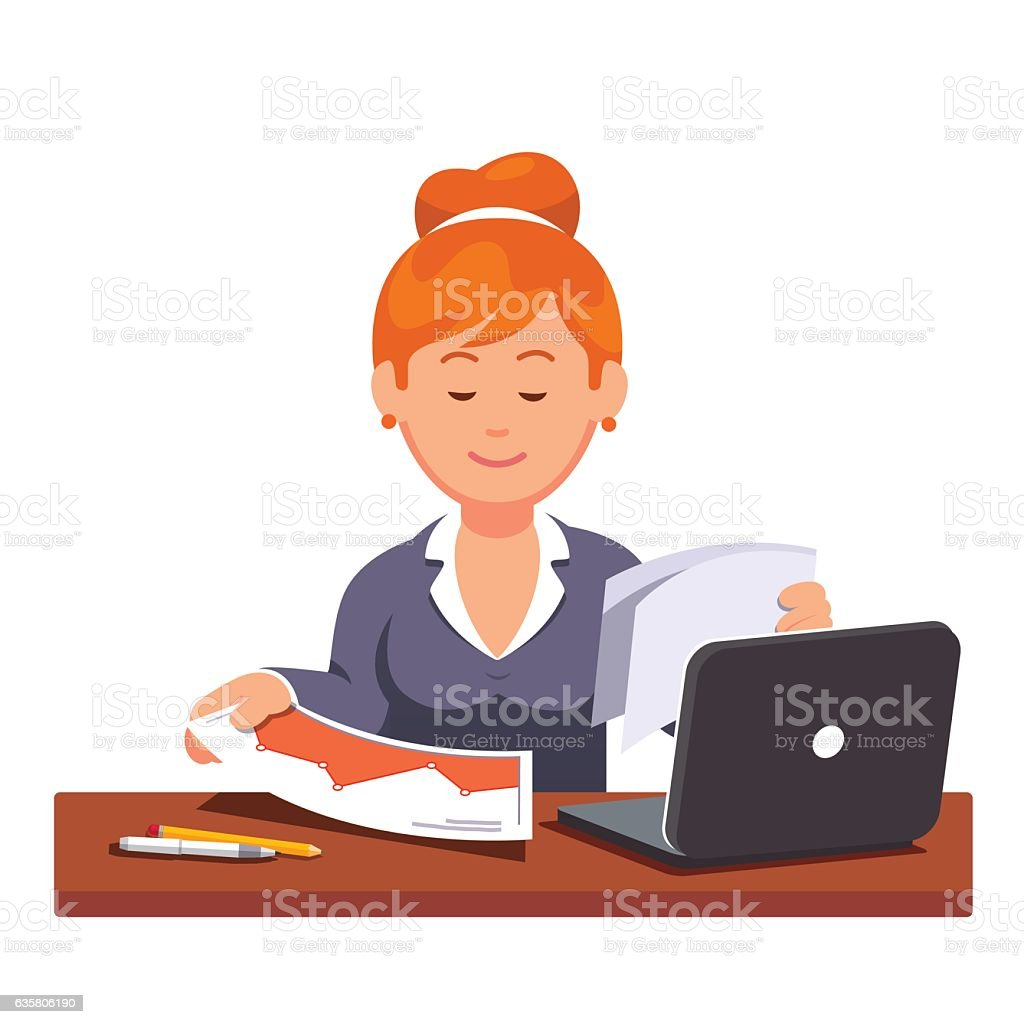 Auditor woman doing commercial business audit vector art illustration