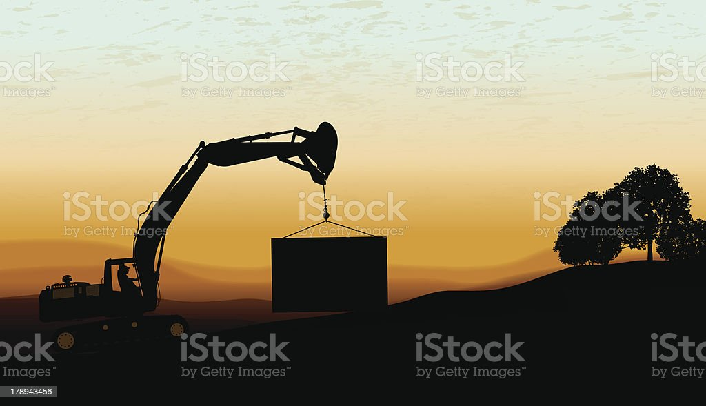 Auger - Construction Equipment and Sign royalty-free stock vector art
