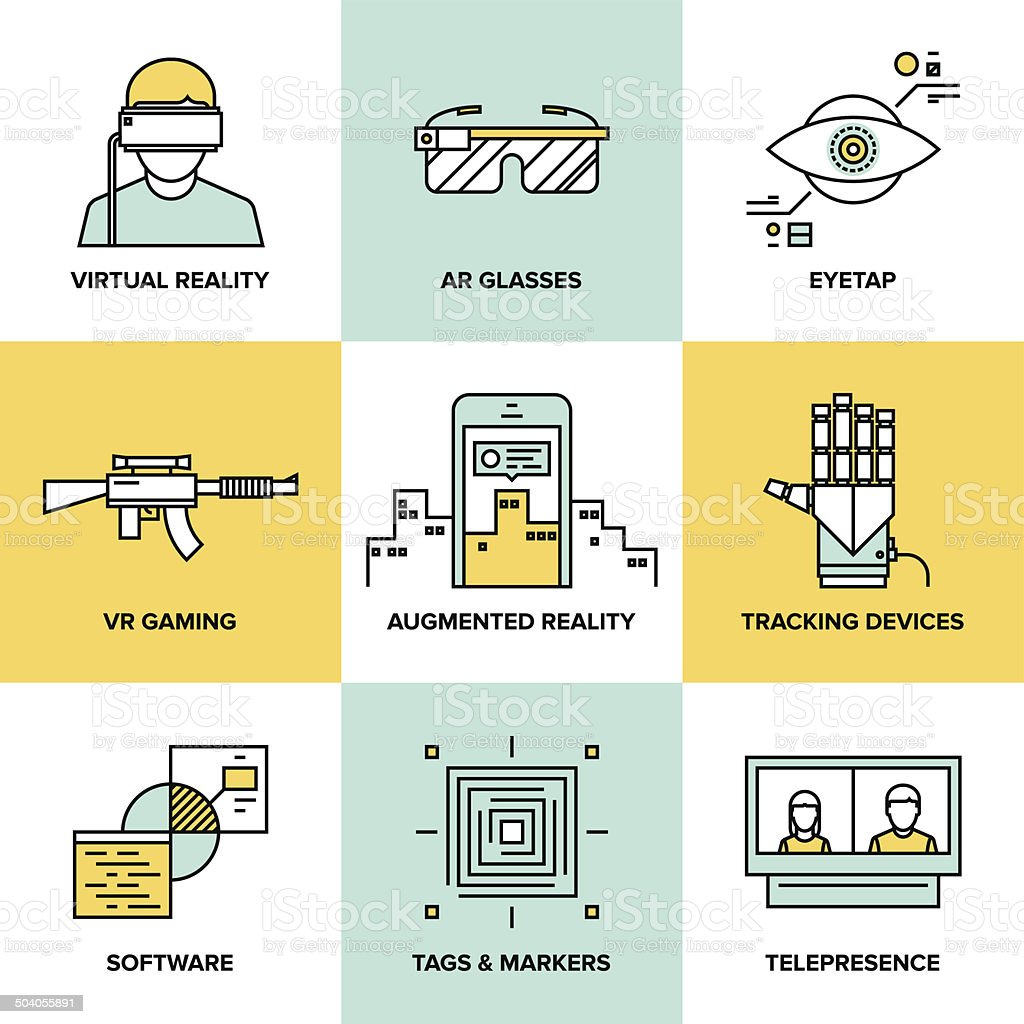 Augmented reality flat icons set vector art illustration