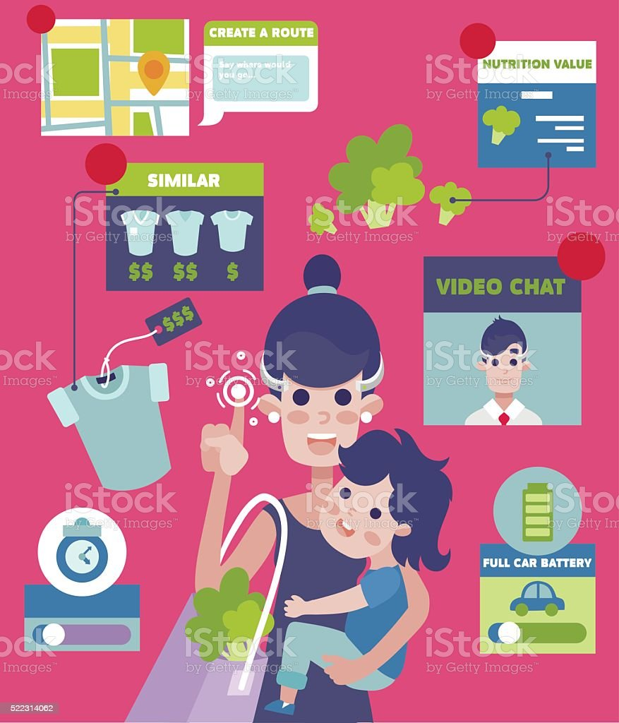 Augmented Reality Living device vector infographics concept. vector art illustration
