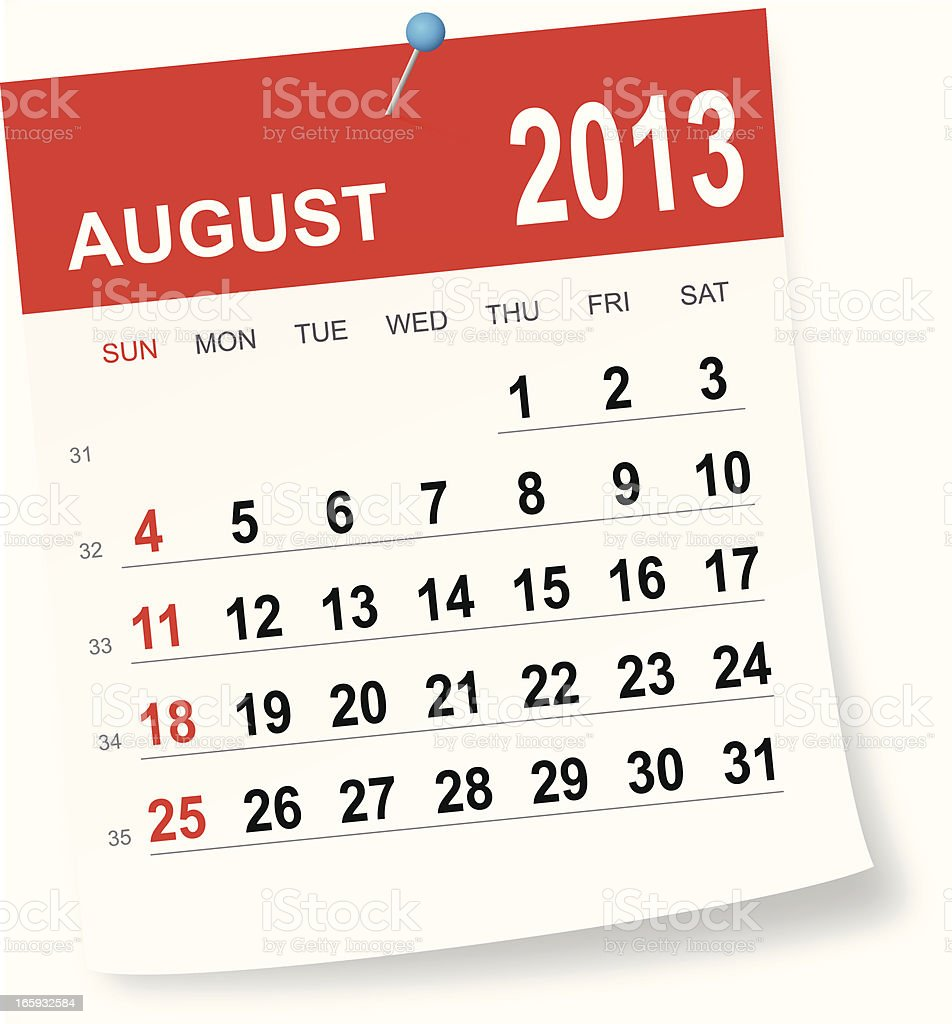 August 2013 calendar royalty-free stock vector art
