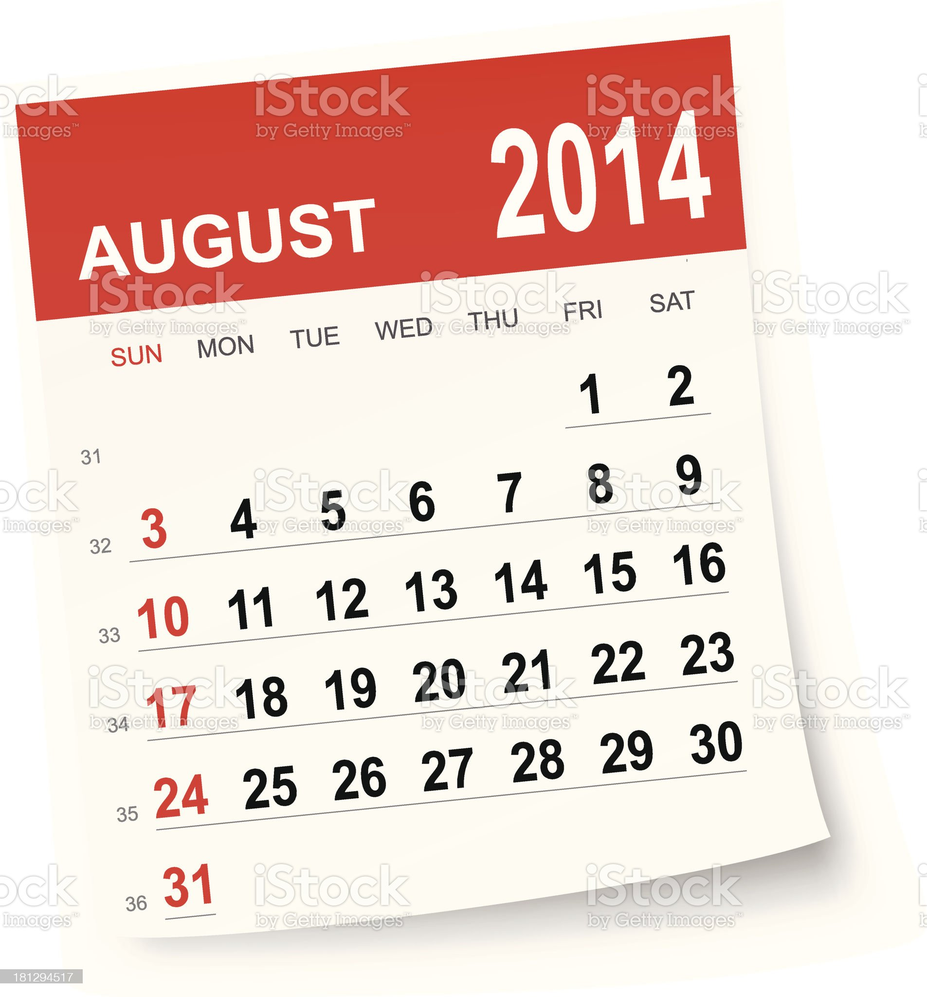 August 2014 calendar royalty-free stock vector art
