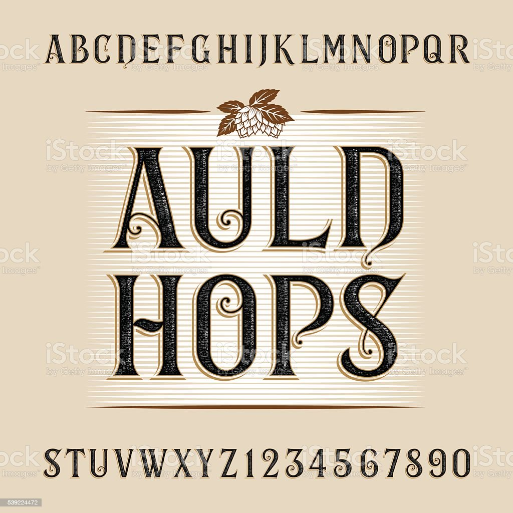 Auld hops alphabet vector font. vector art illustration