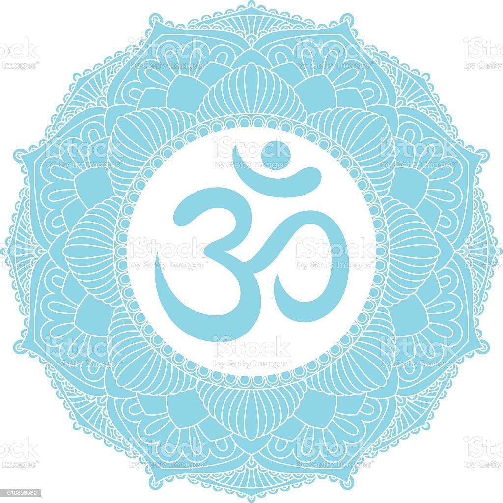 Aum Om Ohm symbol in mandala ornament. vector art illustration