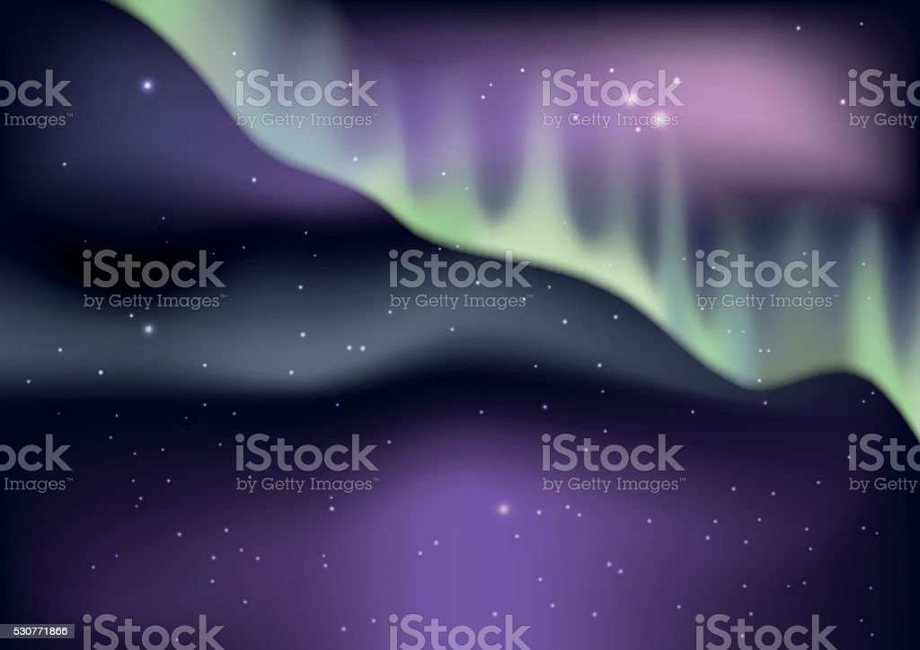 Aurora borealis background vector art illustration