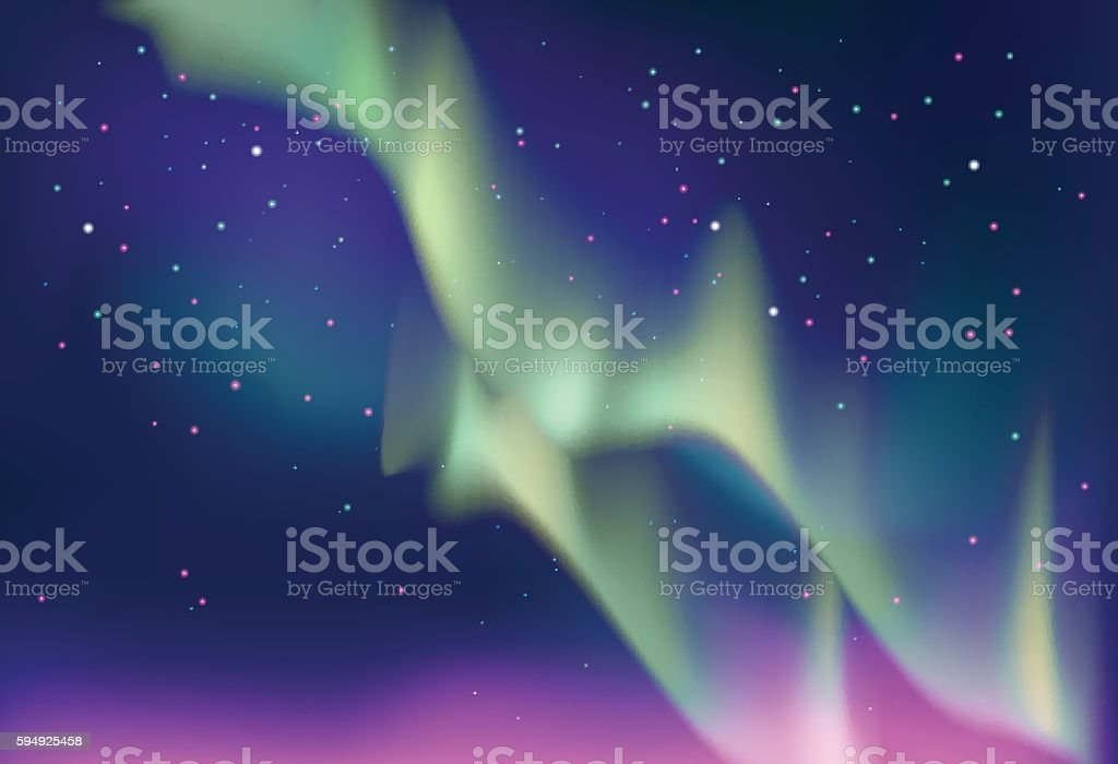 Aurora polaris. Northern lights on the starry night sky. vector art illustration