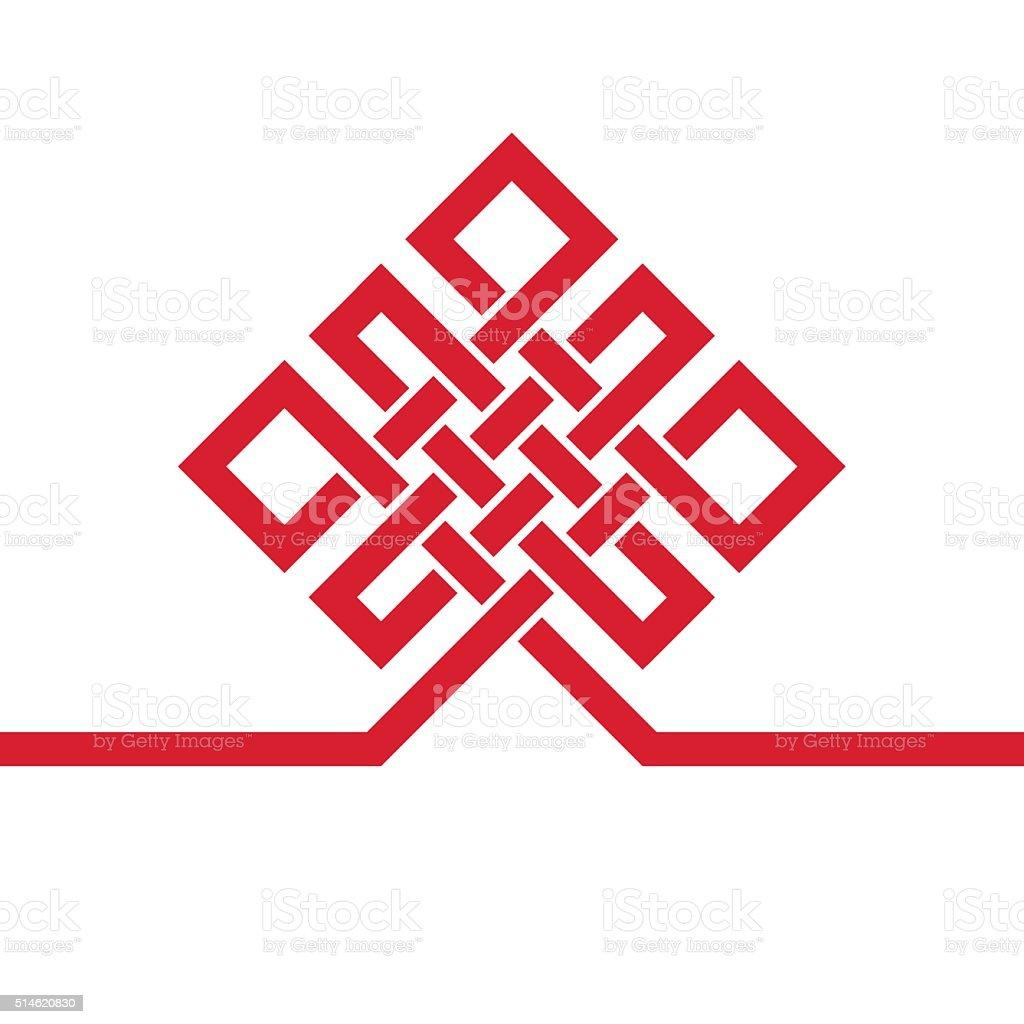 Auspicious Endless knot.Buddhist symbol.Red template vector art illustration