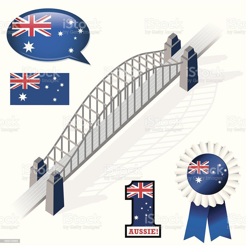 Aussie Flag Icons vector art illustration