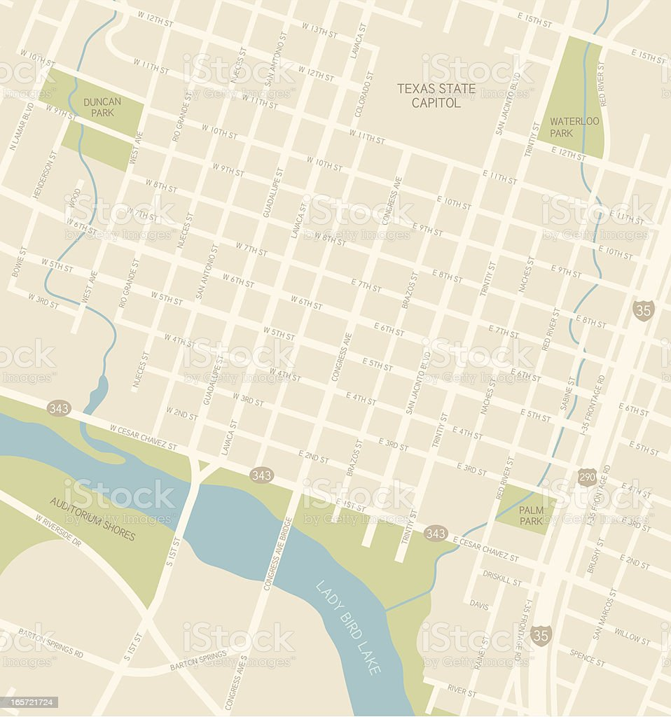 Austin Downtown Map vector art illustration