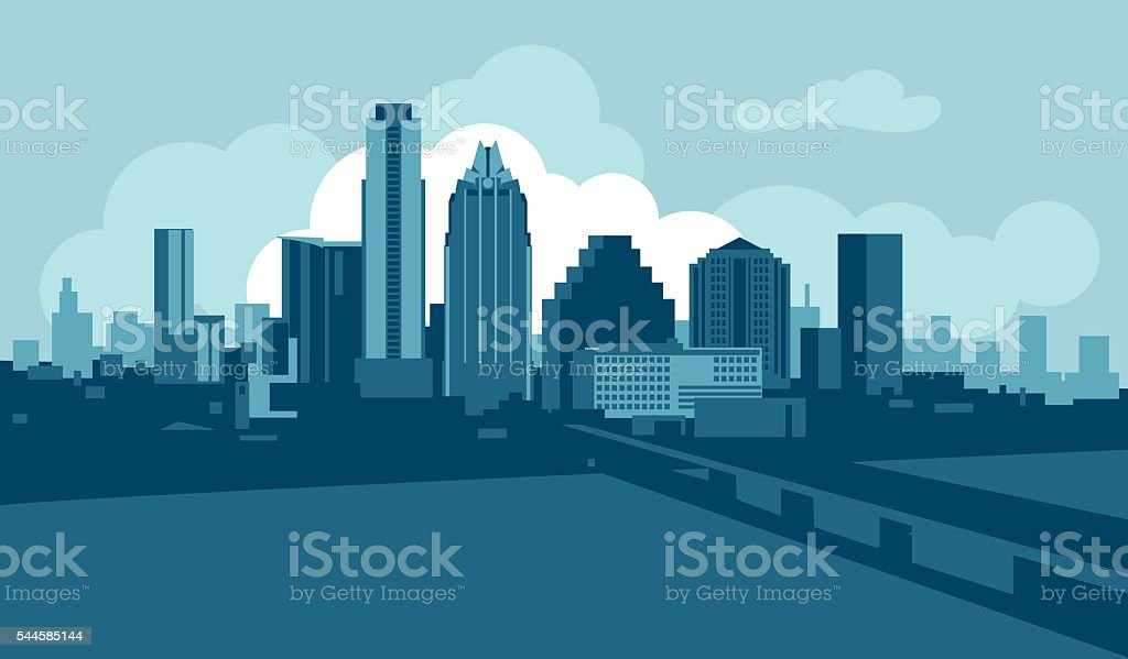 Austin skyline vector art illustration