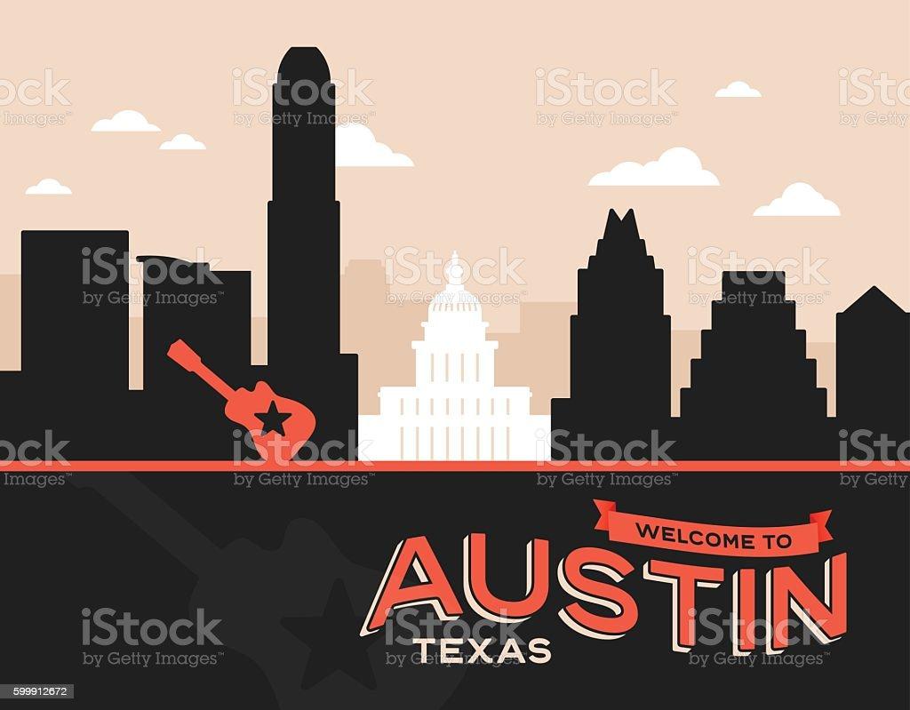 Austin Texas vector art illustration