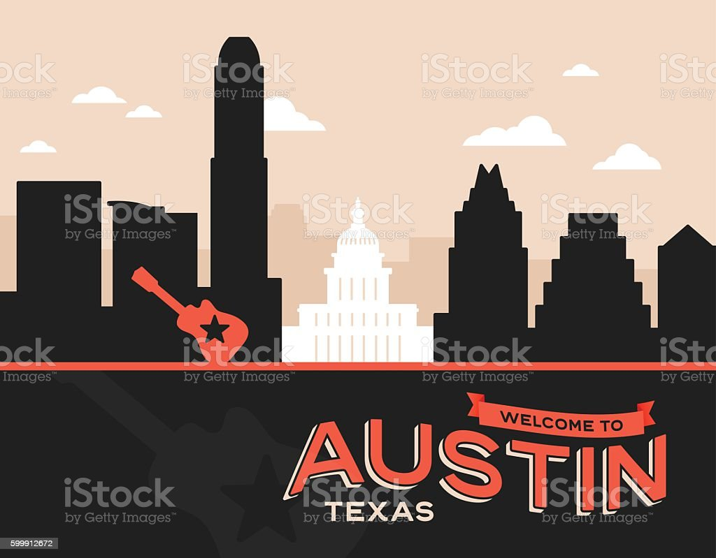 Austin Texas vector art illustration