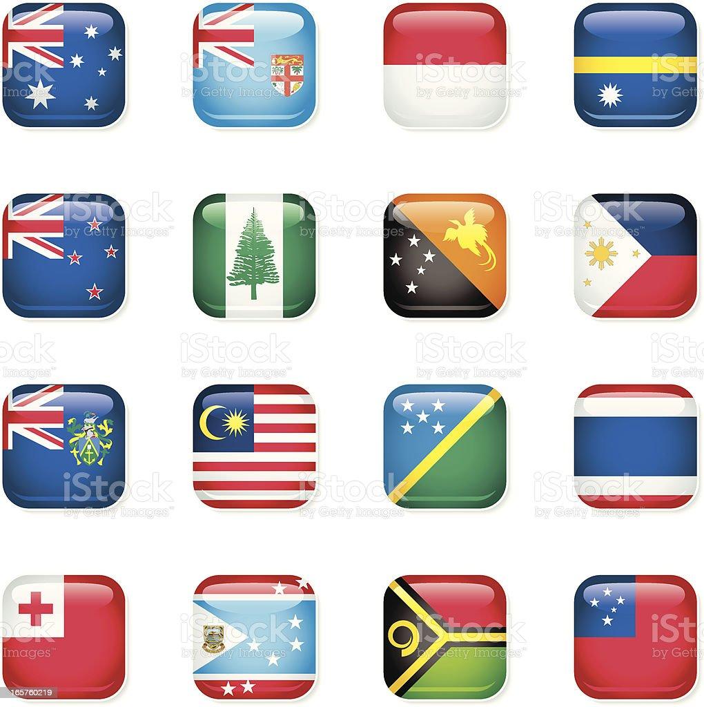 Australasia Icon Flags royalty-free stock vector art