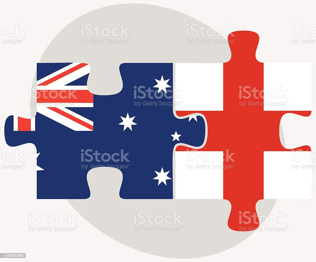 australia and england flags in puzzle stock vector art 473525388