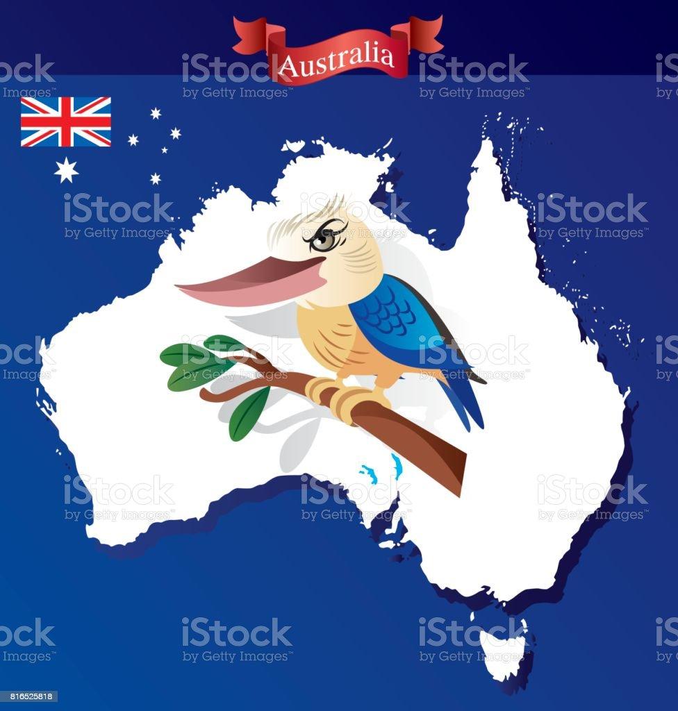 Australia and Kookaburra Birds vector art illustration