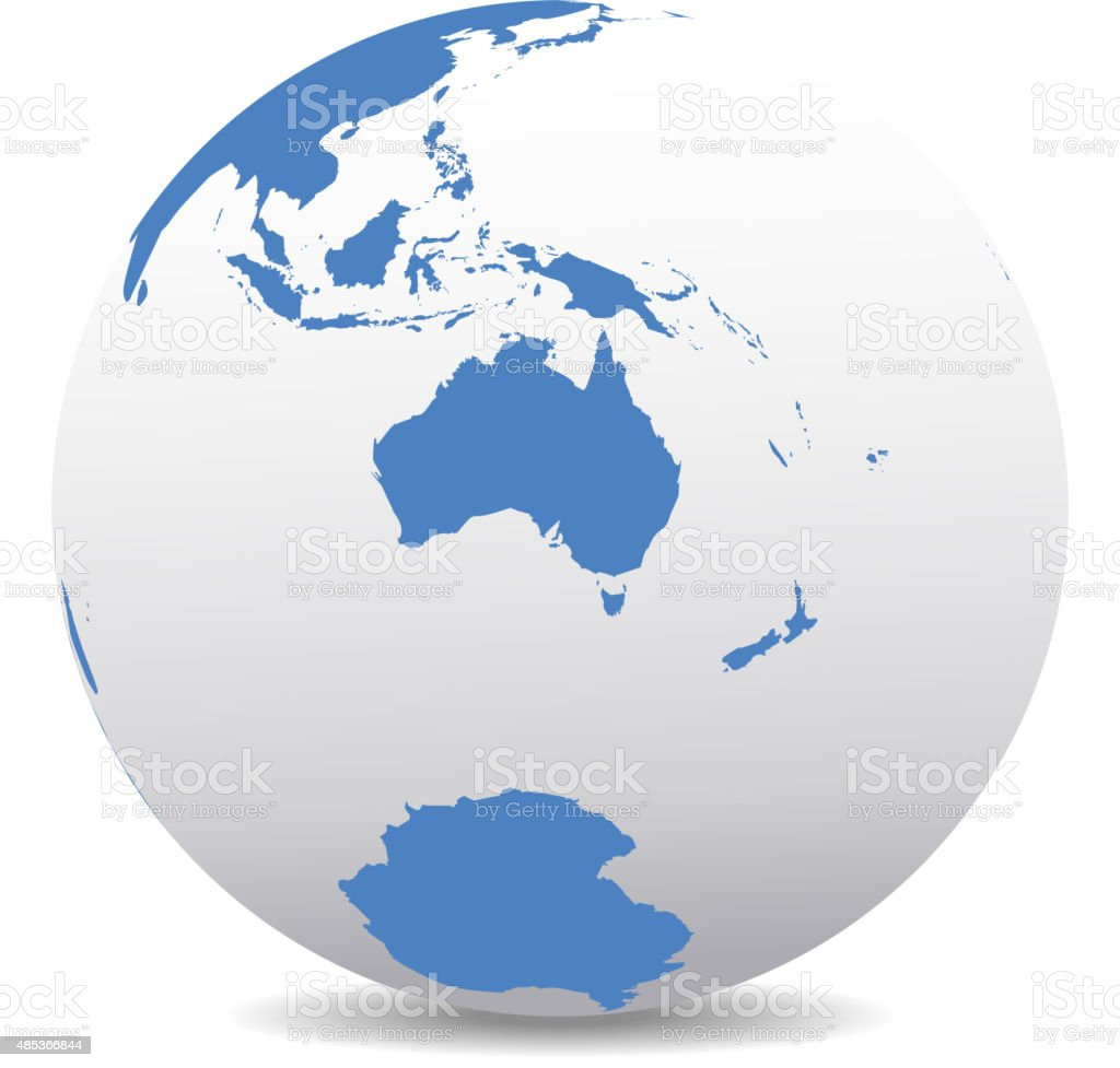 Australia and New Zealand, South Pole, Antarctica, Global World vector art illustration