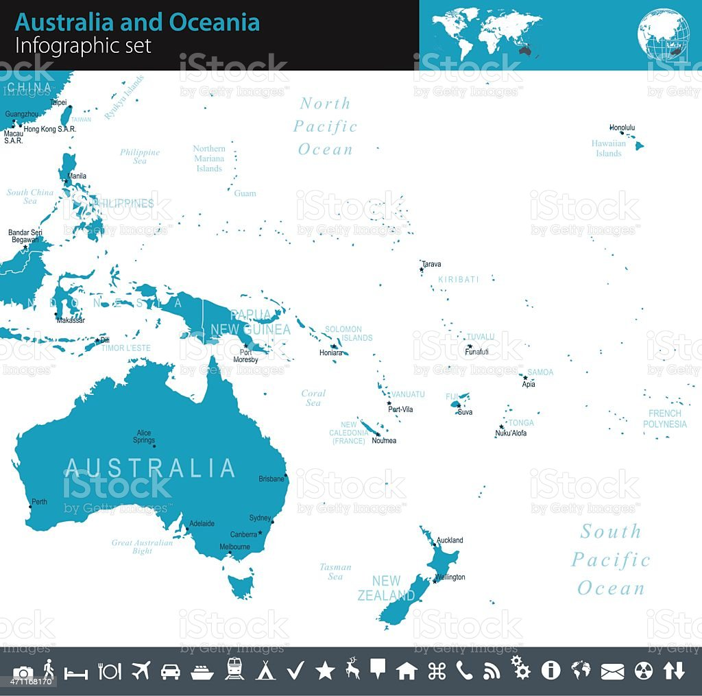 Australia and Oceania - Infographic map - illustration vector art illustration
