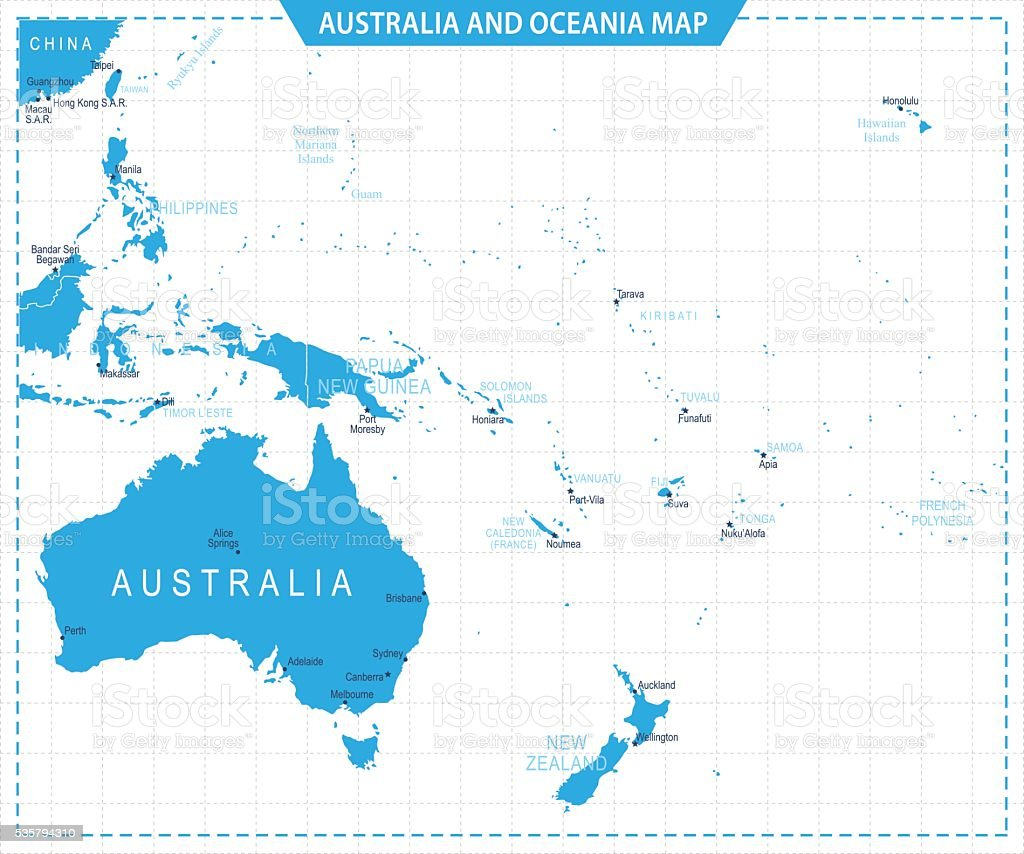 Australia and Oceania Map - Illustration vector art illustration