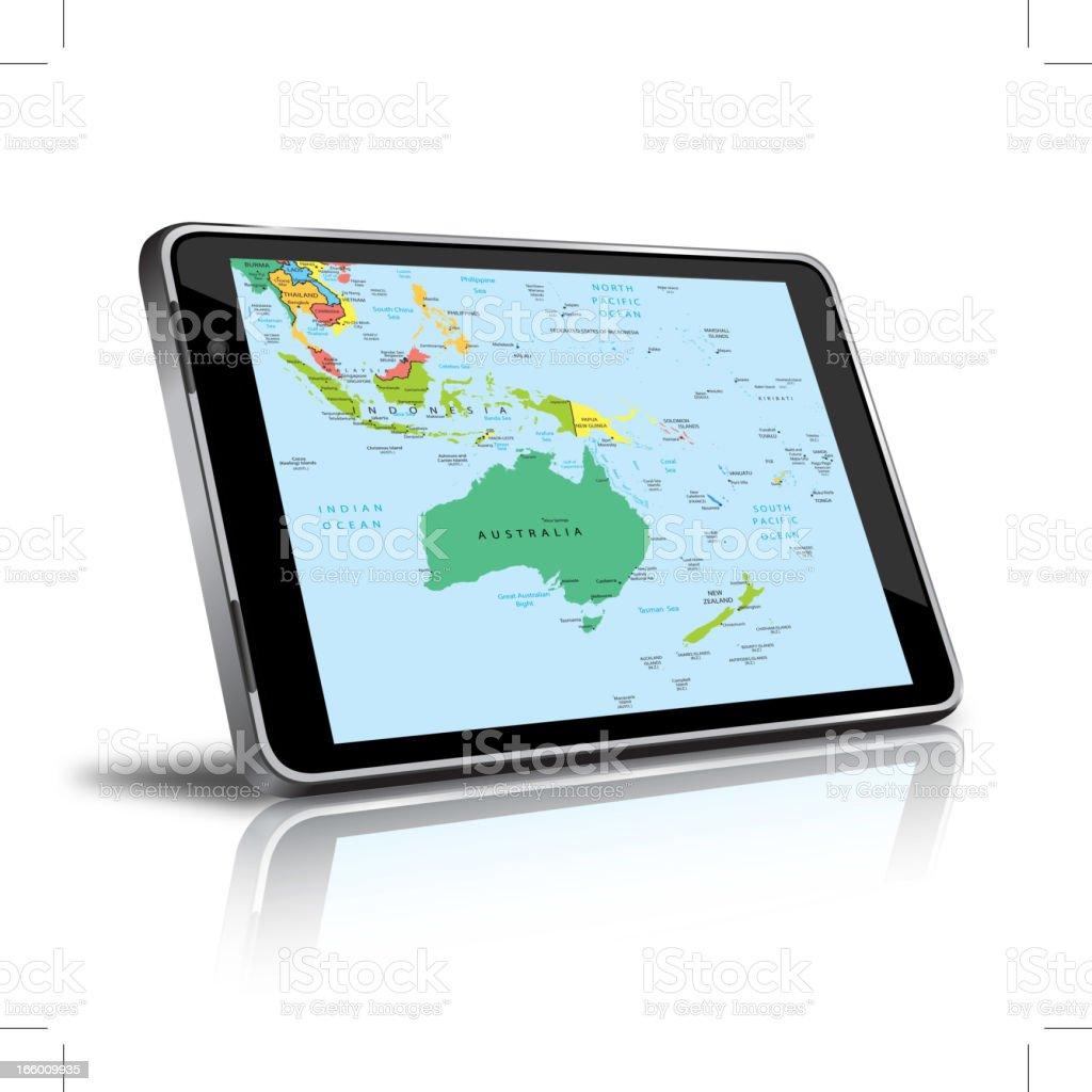 Australia and Oceania map in a digital tablet vector art illustration