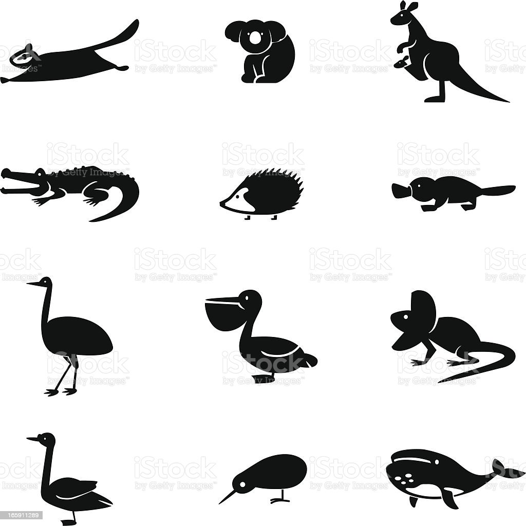Australia Animal Icon Set vector art illustration