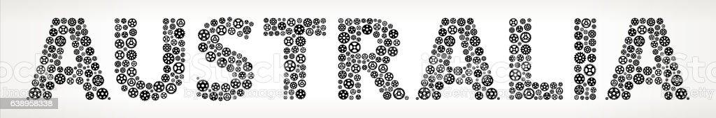Australia Black Gears Vector Graphic Illustration vector art illustration