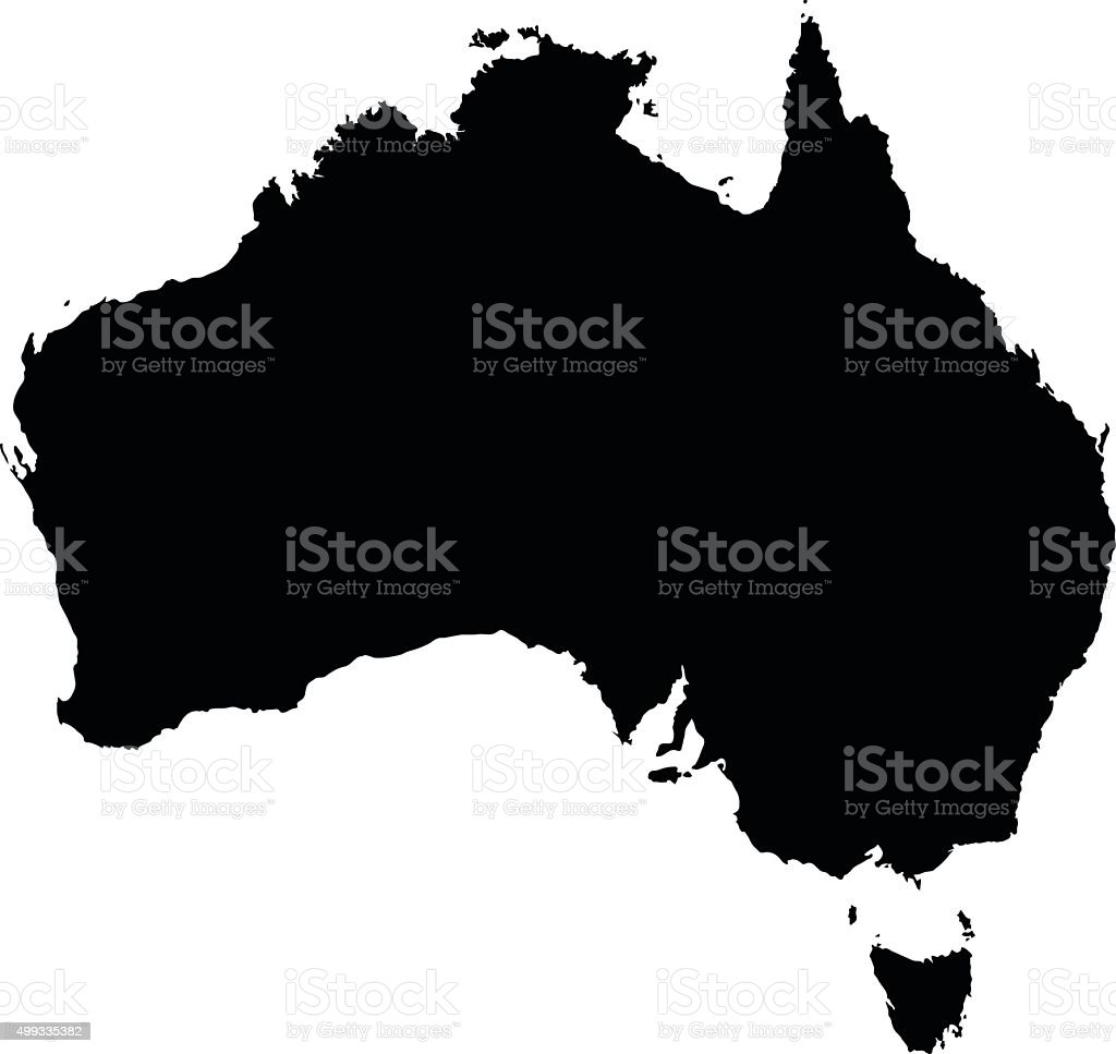 Australia black map on white background vector vector art illustration