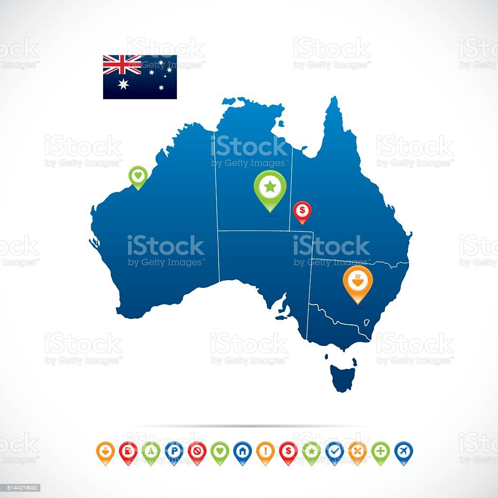 Australia Blue Map vector art illustration