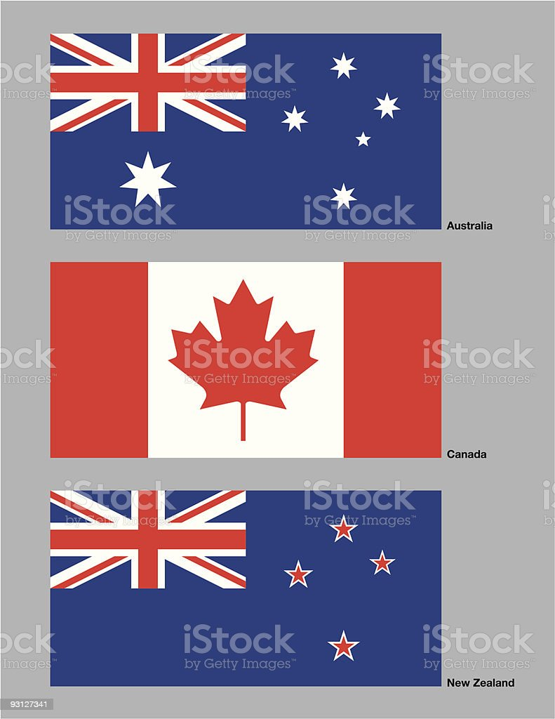 Australia, Canada and New Zealand Flags vector art illustration