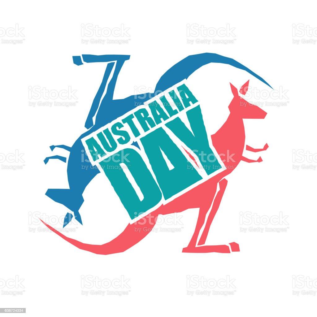 Australia Day. Traditional Australian patriotic holiday. Kangaro vector art illustration