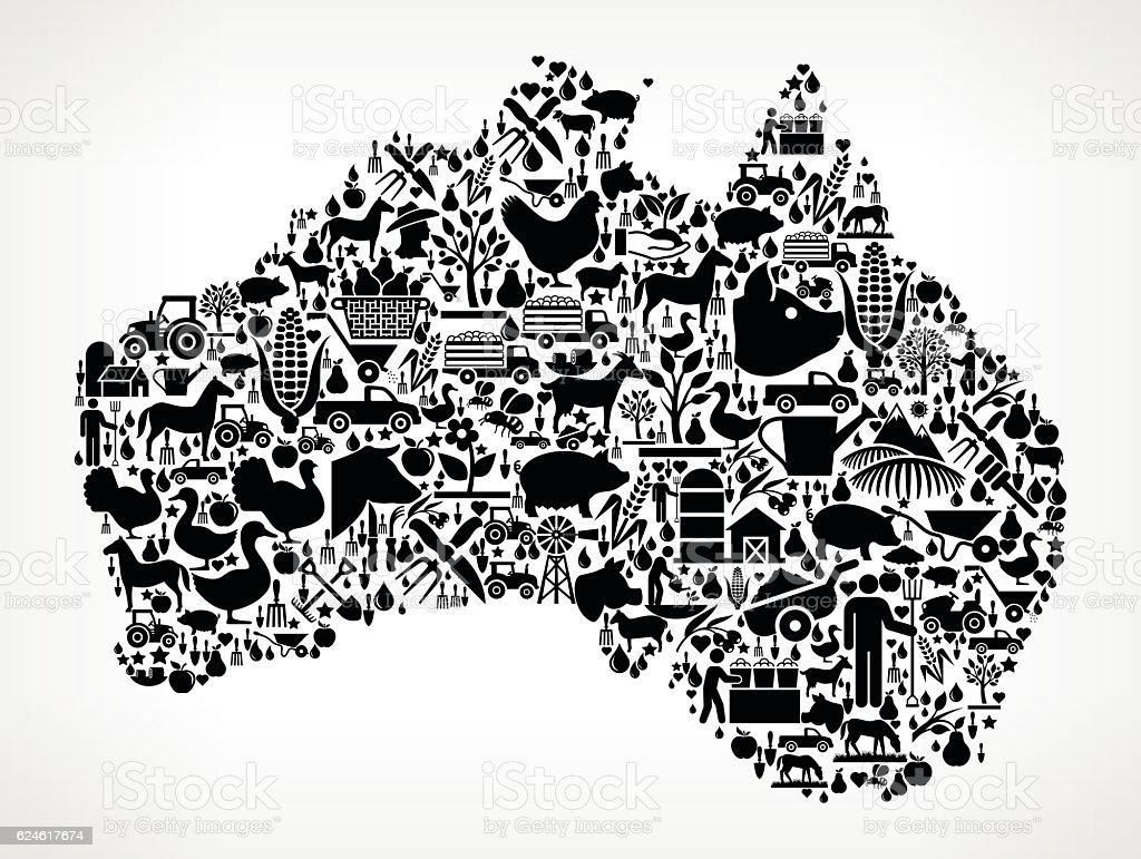 Australia Farming and Agriculture Black Icon Pattern vector art illustration