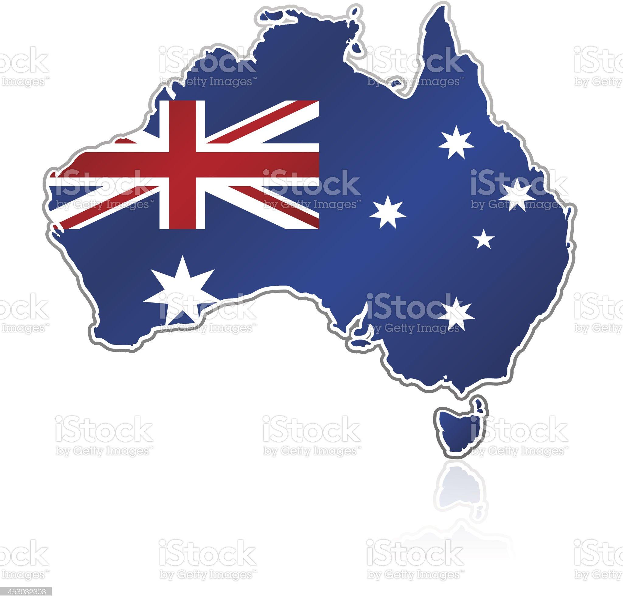 Australia flag map on white background royalty-free stock vector art