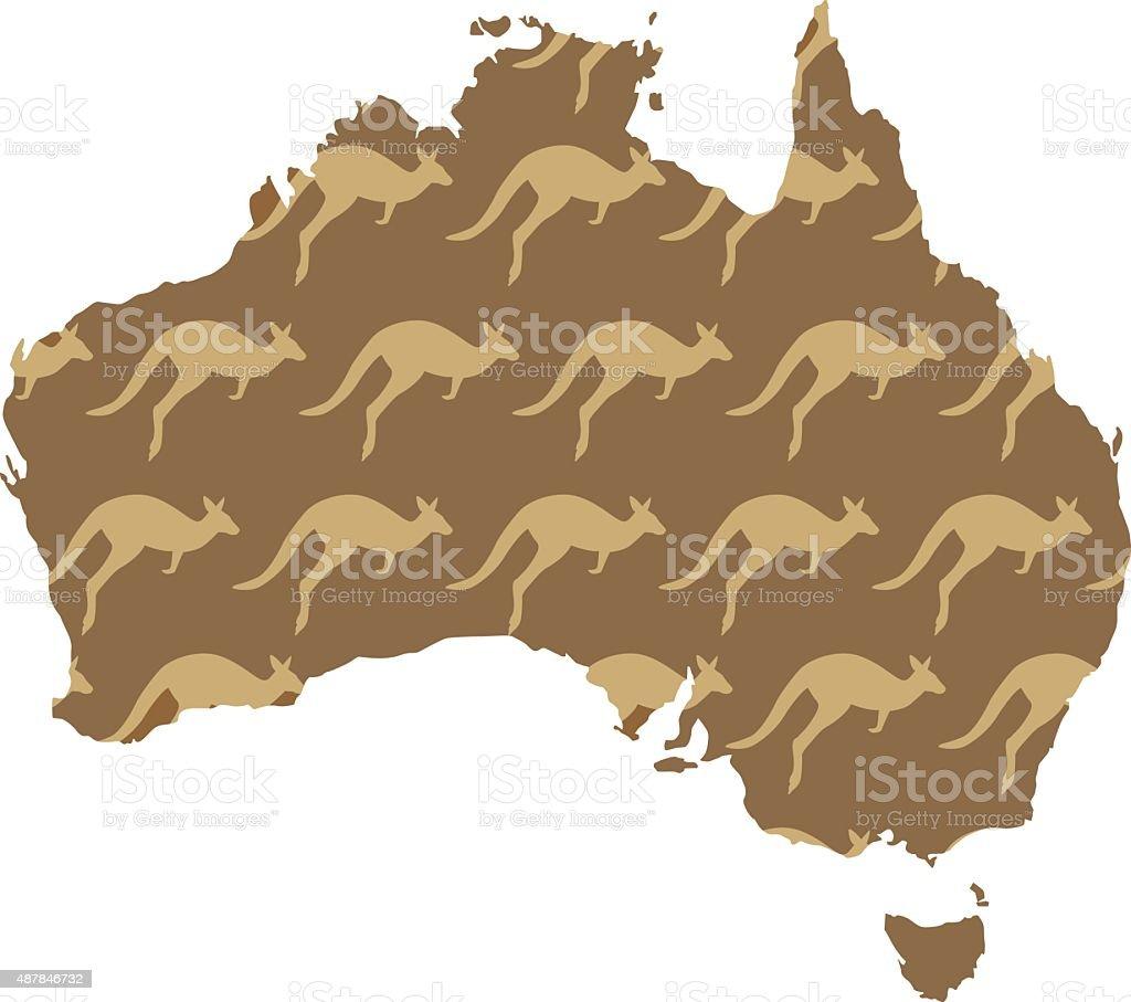 Australia Kangaroo Map vector art illustration