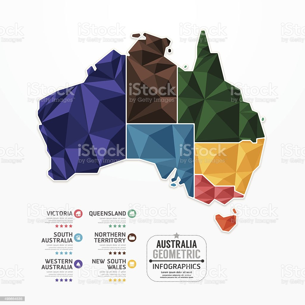 Australia Map Infographic Template geometric concept banner. vector art illustration