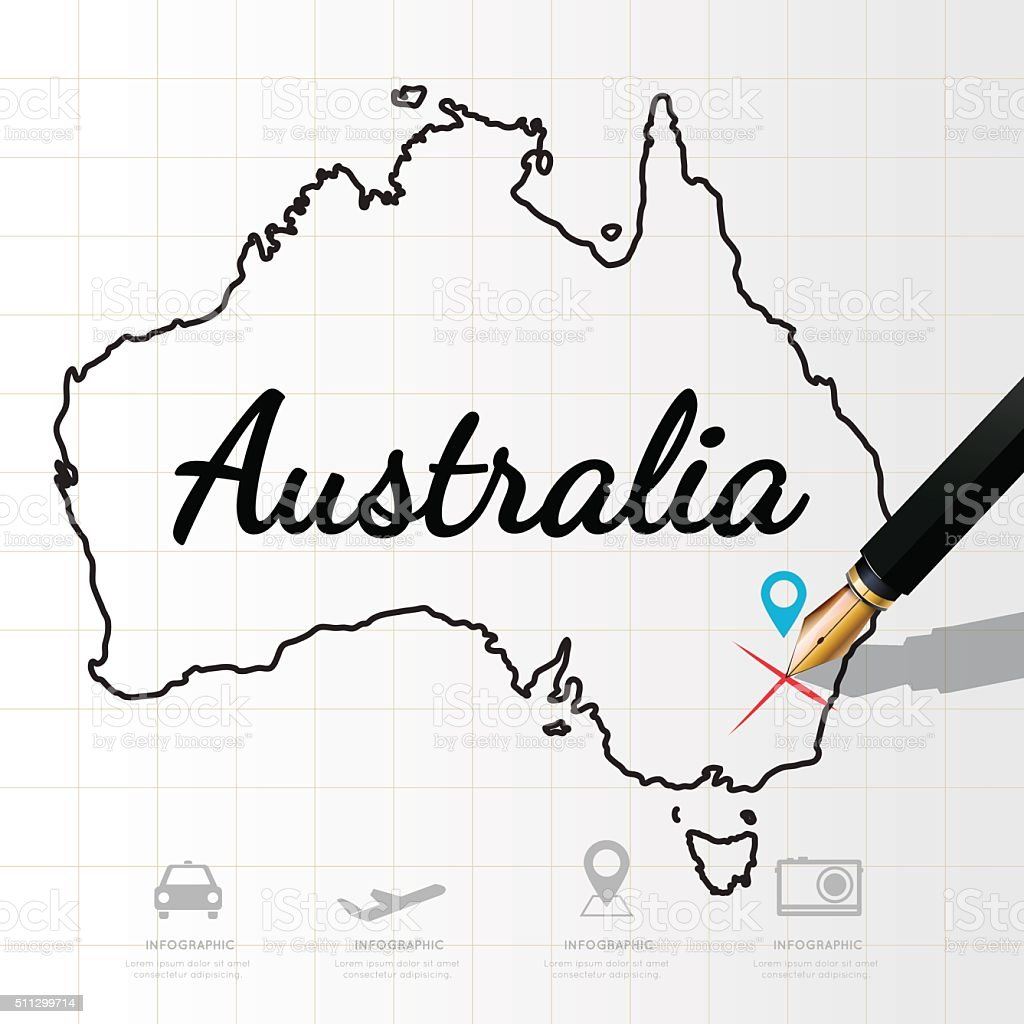 Australia map Infographic vector art illustration