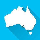 Australia Map on Blue Background, Long Shadow, Flat Design