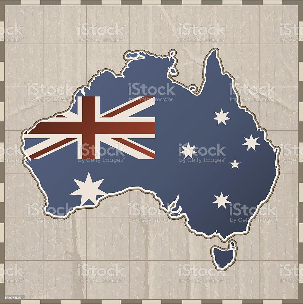 Australia map on paper royalty-free stock vector art