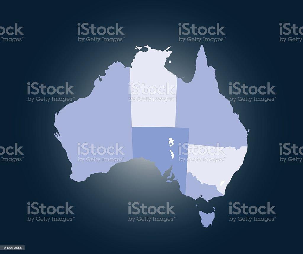 Australia map outline vector illustration in blue background vector art illustration