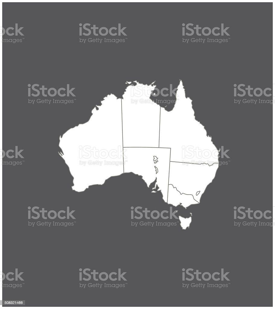 Australia map outline vector in gray background vector art illustration