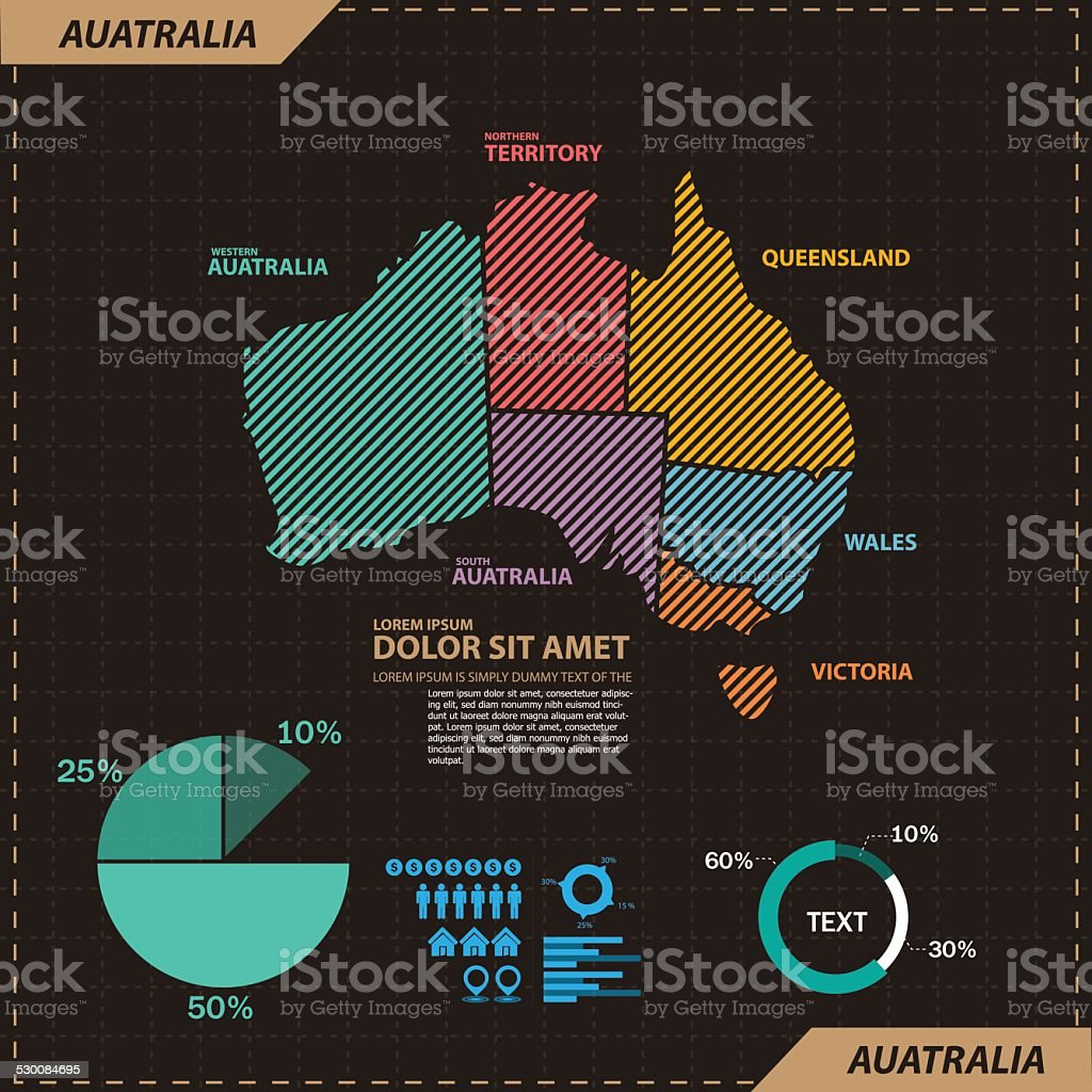 Australia map vector art illustration