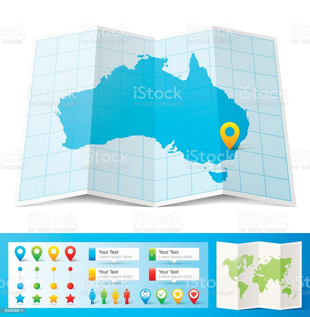 Australia Map with location pins isolated on white Background vector art illustration