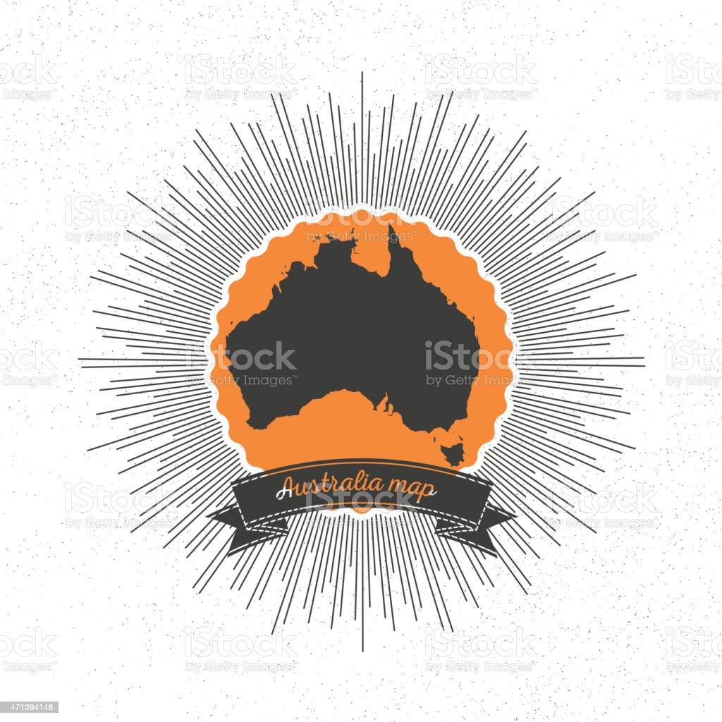 Australia map with vintage style star burst, retro element for vector art illustration