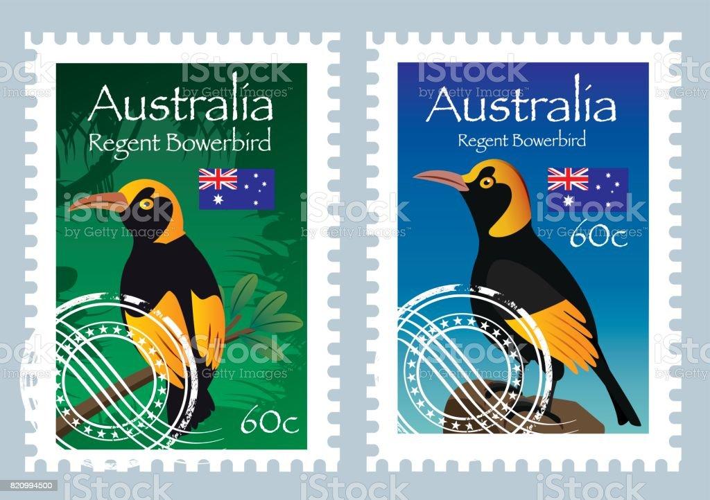 Australia Postage (Regent Bowerbird ) vector art illustration