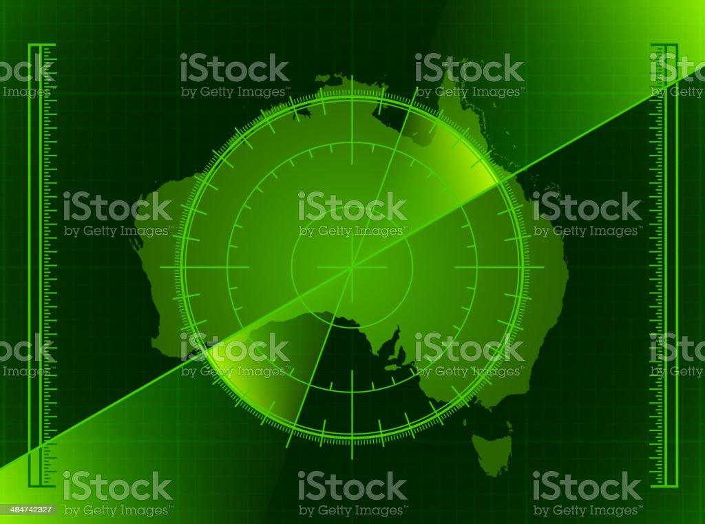 Australia Radar World Map royalty free vector art vector art illustration